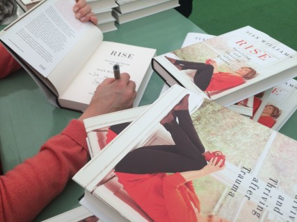 Signing books in the Hay Festival signing tent
